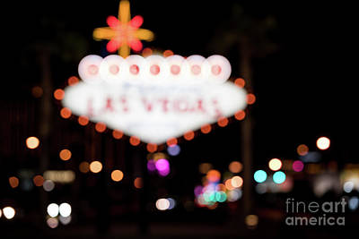 Photograph - Las Vegas Sign Night Blurred by Sanjeev Singhal