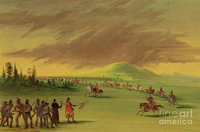Painting - Lasalle Meets On The Prairie Of Texas, A War Party Of Cenis Indians, April 25th, 1686. by George Catlin