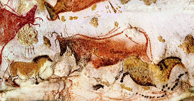 Digital Art - Lascaux Cow And Horses by Weston Westmoreland