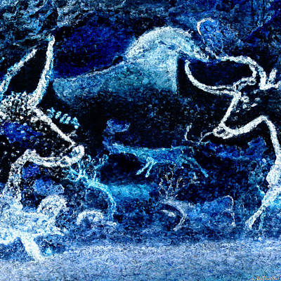 Digital Art - Lascaux Hall Of The Bulls - Deer Between Aurochs - Negative by Weston Westmoreland