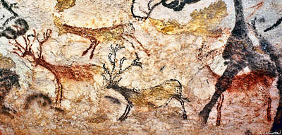 Digital Art - Lascaux Hall Of The Bulls - Five Deer by Weston Westmoreland