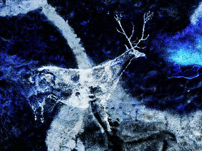 Digital Art - Lascaux Hall Of The Bulls - Jumping Deer - Negative by Weston Westmoreland