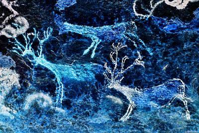 Digital Art - Lascaux Hall Of The Bulls - Three Deer - Negative by Weston Westmoreland