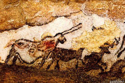 Digital Art - Lascaux Hall Of The Bulls - Unicorn by Weston Westmoreland