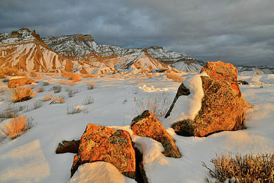 Photograph - Last Light Of The Day On Snowy Book Cliffs by Ray Mathis