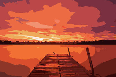 Digital Art - Last Light On The Lake by Dan Sproul