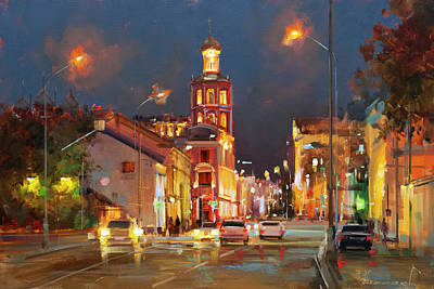 Painting - Late Evening At Petrovka. Moscow. by Alexey Shalaev