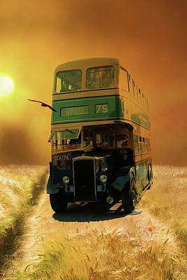 Digital Art - Late Night Bus by Pete Hunt