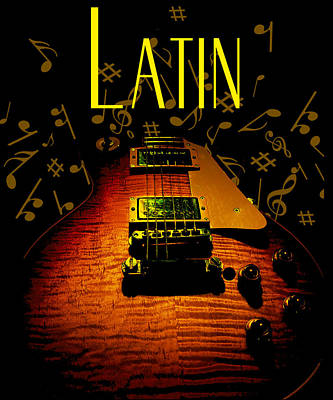 Digital Art - Latin Guitar Music Notes by Guitar Wacky