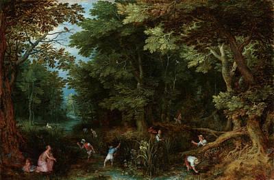 Painting - Latona En De Lycische Boeren  by Jan Brueghel
