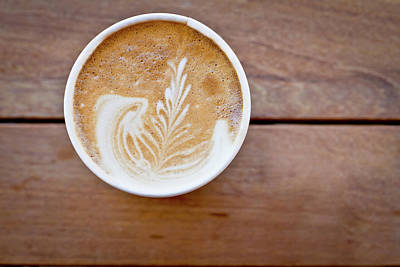 Photograph - Latte With Wooden Background by Grandriver