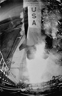 Photograph - Launch Of Saturn 5 Rocket At Cape Kenned by Ralph Morse