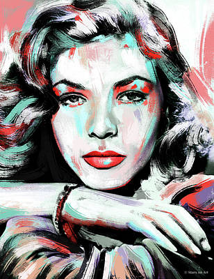 Modern Man Air Travel - Lauren Bacall painting by Stars on Art