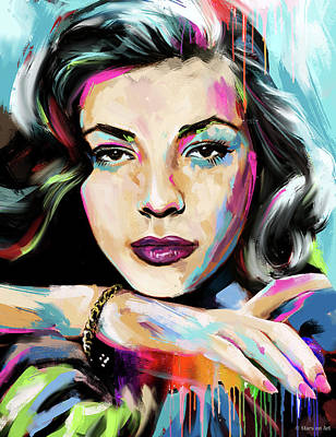 Train Paintings Rights Managed Images - Lauren Bacall portrait Royalty-Free Image by Stars on Art
