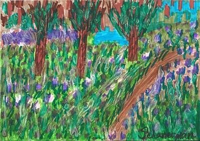 Drawing - Lavender Fields Forever by Susan Schanerman
