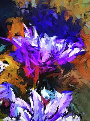 Painting - Lavender Flower And The Cobalt Blue Reflection by Jackie VanO
