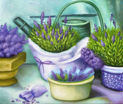 Impressionist Landscapes - Lavender with a watering can by Natalia Shcherbakova