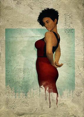 Digital Art - Laverne With Red Dress by Jan Keteleer