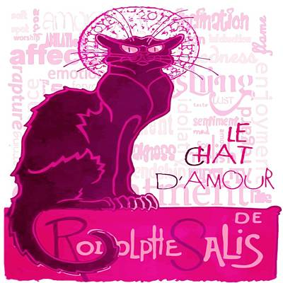 Digital Art - Le Chat D Amour Meaning Of Love Text by Taiche Acrylic Art