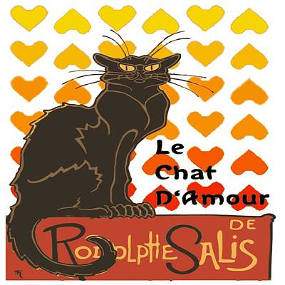 Digital Art - Le Chat D Amour Valentine Cat With Lovehearts by Taiche Acrylic Art