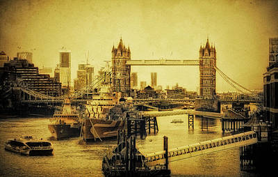 Digital Art - LE James JOYCE and HMS belfast  by Andrew David
