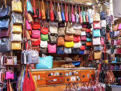 Photograph - Leather Bag Colors At The Mercato Del Porcellino Florence by John Rizzuto