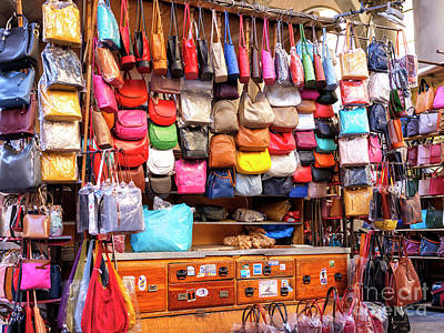 Photograph - Leather Bag Colors At The Mercato Del Porcellino In Florence by John Rizzuto