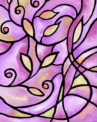 Royalty-Free and Rights-Managed Images - Leaves And Curves Art Nouveau Style VI by Irina Sztukowski