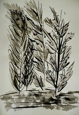 Food And Flowers Still Life - Leaves - Ink Painting #P09 by Noranne AG