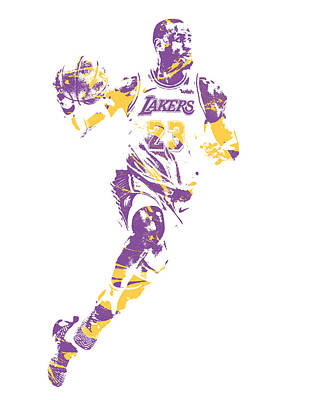 Lebron James Wall Art - Mixed Media - Lebron James Los Angeles Lakers Pixel Art 2 by Joe Hamilton