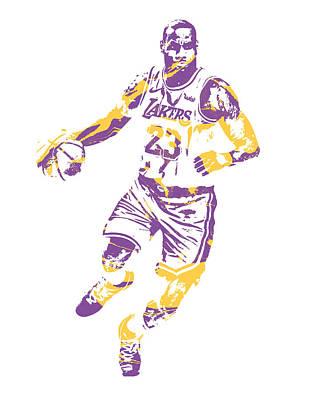 Lebron James Wall Art - Mixed Media - Lebron James Los Angeles Lakers Pixel Art 3 by Joe Hamilton