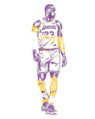 Lebron James Wall Art - Mixed Media - Lebron James Los Angeles Lakers Pixel Art 4 by Joe Hamilton