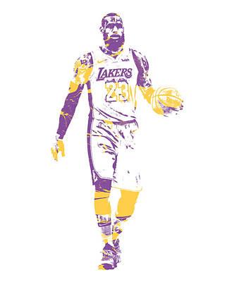 Lebron James Wall Art - Mixed Media - Lebron James Los Angeles Lakers Pixel Art 5 by Joe Hamilton