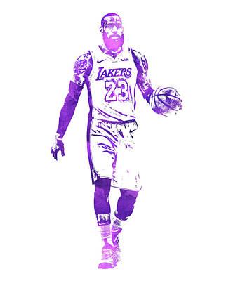Lebron James Wall Art - Mixed Media - Lebron James Los Angeles Lakers Water Color Pixel Art 1 by Joe Hamilton