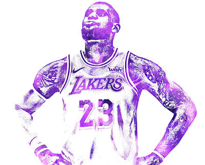 Lebron James Wall Art - Mixed Media - Lebron James Los Angeles Lakers Water Color Pixel Art 30 by Joe Hamilton
