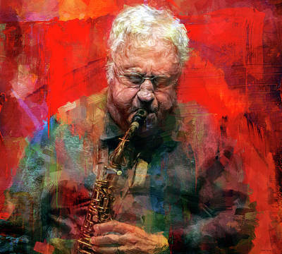 Jazz Mixed Media Royalty Free Images - Lee Konitz Royalty-Free Image by Mal Bray