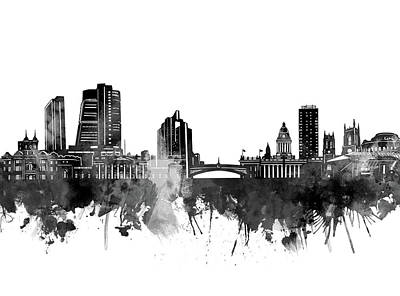 Abstract Skyline Royalty-Free and Rights-Managed Images - Leeds Skyline Bw by Bekim M