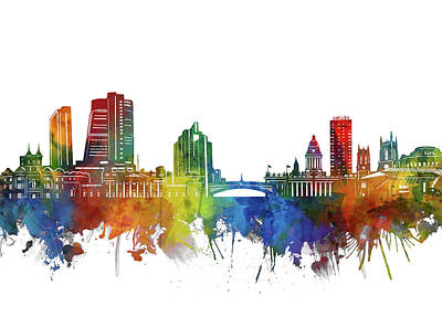 Abstract Skyline Royalty-Free and Rights-Managed Images - Leeds Skyline Watercolor 2 by Bekim M