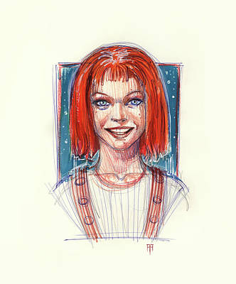 Science Fiction Drawings - Leeloo by Alex Ruiz