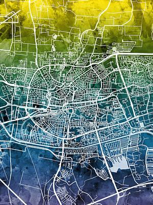 Digital Art - Leeuwarden Netherlands City Map by Michael Tompsett