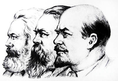Drawing - Left To Right Karl Marx Friedrich Engels Vladimir Lenin by Russian School