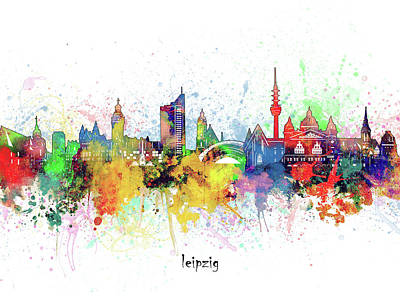 Abstract Skyline Royalty-Free and Rights-Managed Images - Leipzig Skyline Artistic by Bekim M