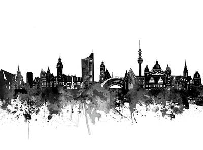 Abstract Skyline Royalty-Free and Rights-Managed Images - Leipzig Skyline Bw by Bekim M