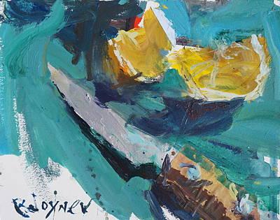 Painting - Lemon And Knife Still Life Painting by Robert Joyner