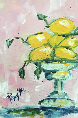 Contemporary Painting - Lemon Pedestal by Roxy Rich