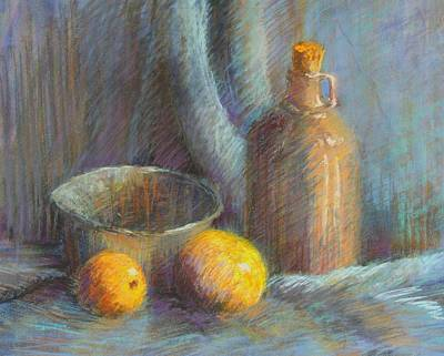 Wall Art - Pastel - Lemons In Blue by Candy Mayer