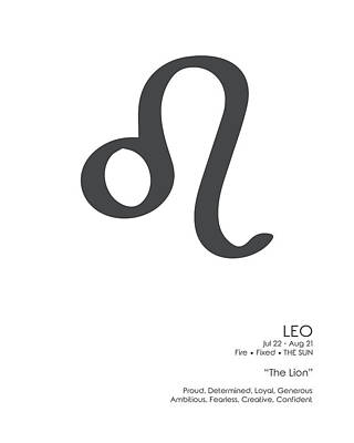 Mixed Media Royalty Free Images - Leo Print - Zodiac Signs Print - Zodiac Posters - Leo Poster - Black and White - Leo Traits Royalty-Free Image by Studio Grafiikka