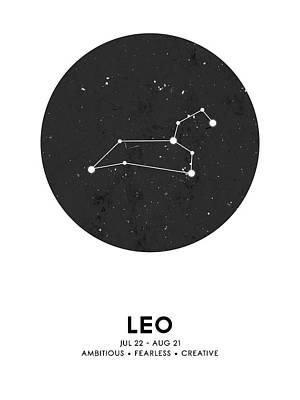 Mixed Media Royalty Free Images - Leo Print - Zodiac Signs Print - Zodiac Posters - Leo Poster - Night Sky - Stars - Leo Traits Royalty-Free Image by Studio Grafiikka