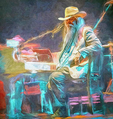 Musicians Mixed Media Royalty Free Images - Leon Russell Royalty-Free Image by Mal Bray