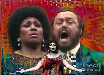 Spot Of Tea - Leontyne Price  and Luciano Pavarotti by Carl Gouveia